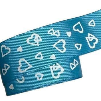 "Turquoise blue heart print 1.5"" grosgrain ribbon"