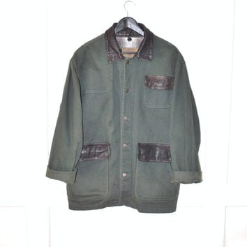 long army green DENIM jacket 90s GRUNGE vintage jean jacket contrasting collar LEATHER trimmed plaid flannel lined denim coat medium