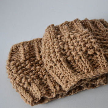 Light brown knitted boot cuff, wool leg warmer, boot toppers, clothing accessories, women and teen clothing