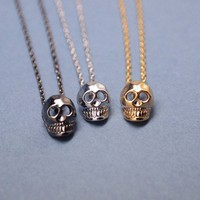 Cute Tiny Baby Skull Necklace(gold, silver and gunmetal)
