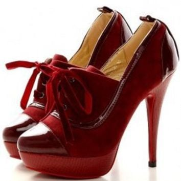 Wholesale Sexy Water Proof Strapped Leather Pumps Red