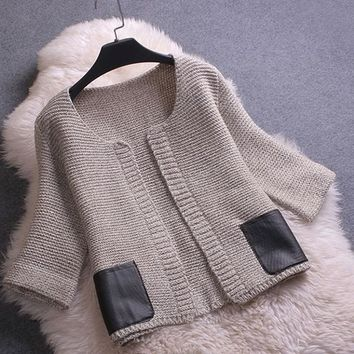 Camel Patchwork Round Neck 3/4 Sleeve Cardigan Sweater