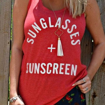 "Women's Orange Scoop Neck ""Sunglasses + SunScreen"" T-Shirt Tank Top"