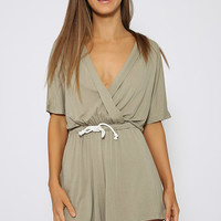 Toby Heart Ginger - Billow Cross Front Playsuit - Khaki