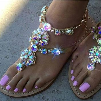 2017 Woman Sandals Women Shoes Rhinestones Chains Thong Gladiator Flat Sandals Chaussu
