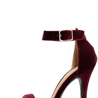 Time to Party Burgundy Velvet Ankle Strap Heels
