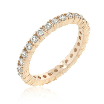 Fabia Rosegold Eternity Stackable Ring | 2ct | Cubic Zirconia | Rosegold