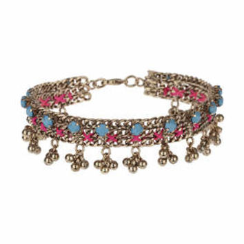 Bead and Thread Anklet - Pink