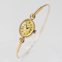 Cocktail wristwatch for women, floral face lady watch tiny, vintage oval face girl watch Seagull, roman numeral watch unique gift gold shade