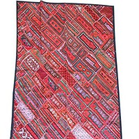 Mogul Authentic Red Artisan Wall Tapestry Kutch Embroidered Headboard Bohemian Throw 90 X 80 .