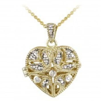 18K Gold over Silver Diamond Accent Filigree Flower Heart Locket Necklace