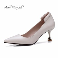 Arden Furtado new 2018 spring autumn genuine leather slip on 6cm shoes for woman fashion shoes women big size office lady pumps