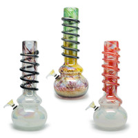 Colorful Round Base Water Bong - Heavy Glass - Threaded Shaft - 12 Inches - Assorted Colors