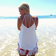 Bind Us Together Open Back Blouse Tank In Ivory