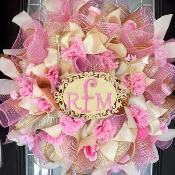 Pink and Gold It's A Girl Welcoming Wreath, Baby Shower Wreath, Baby Shower Decoration, Monogram Wreath, Monogram Decor, Baby Gift