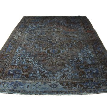 7x10 Vintage Persian Rug Distressed Sky Denim Blue 8x11 2872