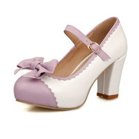 New Autumn Style Women's Pumps Mary Janes Square Heel Round Toe Bowtie Casual Slip-On Soft Leather Mixed Color Size 34-39
