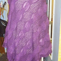 Purple Haze Sweater Poncho with Fringe womans clothing