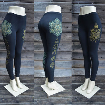 Platonic Crystal Leggings - Sacred Geometry - Metatron's Cube - Yoga Wear