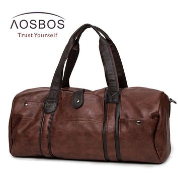 Aosbos PU Leather Gym Bag Large capacity Sports Bags for Women Men  Fitness Training Bag Outdoor Travel  Duffel  Storage Handbag