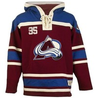 Old Time Hockey Colorado Avalanche Lace Jersey Team Hoodie - Burgundy
