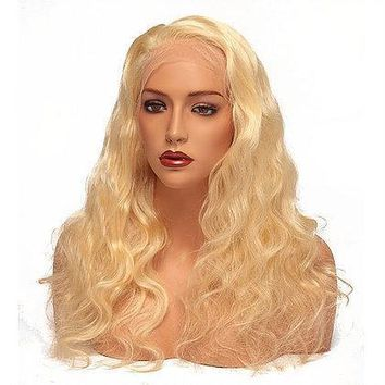 613 Platinum Blonde Full Lace Wig - Body Wave