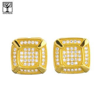 Jewelry Kay style Men's Bling 14K Gold Plated Pave Double Square CZ Screw Back Earrings SHS 485 G