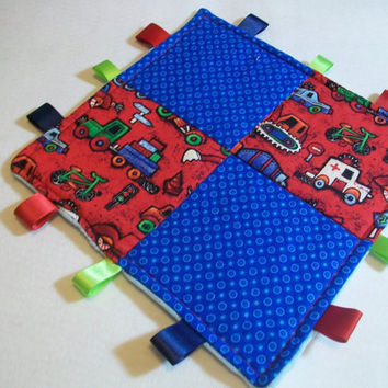 Taggy blanket baby boy construction vehicles