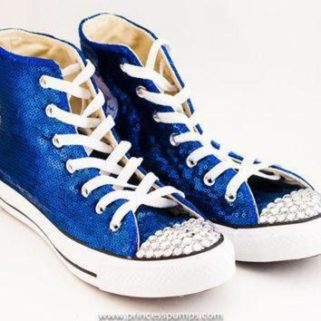 QIYIF royal blue sequin converse canvas hi top sneakers shoes with rhinestoned toes