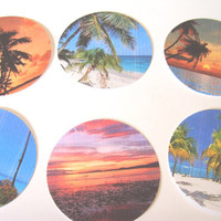 Tropical Paradise Stickers or Envelope Set of 20 Seals Palm Trees Beaches Sunsets Ocean