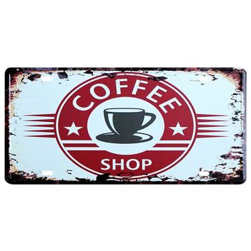 Coffee Shop Vintage License Plate Sign