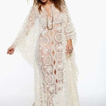 White Lace Lace Beach Cover-Up