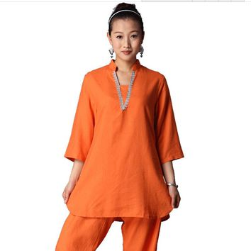 Chinese Tradition Women Yoga Suit Loose Trousers Tops Set Clothing Ladies Linen Zen Meditation Outdoor Yoga