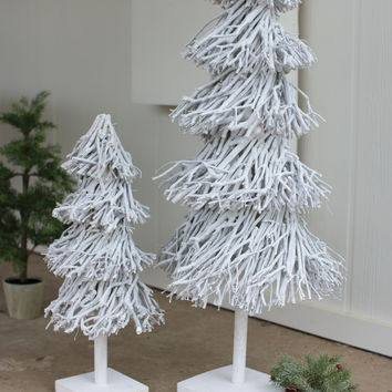 Set of 2 Root Topiaries with Wooden Base- Whitewash