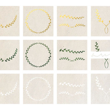 Digital Clipart Gold Foil Wreath Laurel Instant Download Transparent Background Frame PNG Image For Blogs Weddings Website