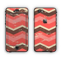 The Coral & Brown Wide Chevron Pattern Vintage V1 Apple iPhone 6 Plus LifeProof Nuud Case Skin Set