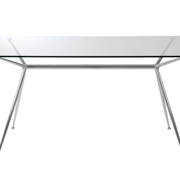 """Atos 60"""" Rectangle Dining Table/Desk with Clear Tempered Glass Top and Chrome Base"""