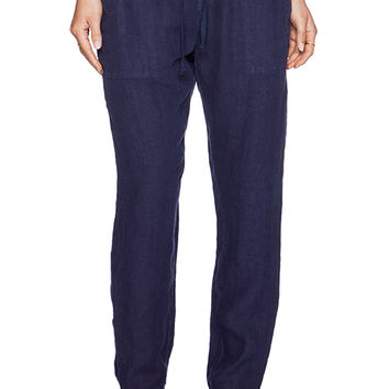 Enza Costa Linen Pant in Navy
