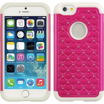 Apple iPhone 6s Plus Case / 6 Plus Case Crystal Rhinestone Slim Hybrid Dual Layer Case - Hot Pink/White