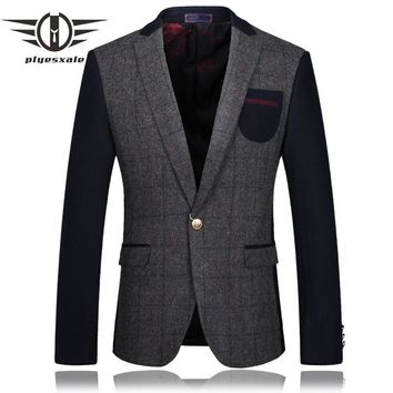 Men Blazer Slim Fit Men Wool Blazers Fashion Patchwork Suit Stylish Blazers Casual