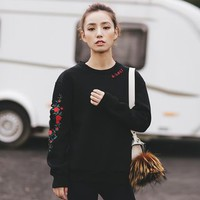 Floral Embroidered Cutout Sweatshirt