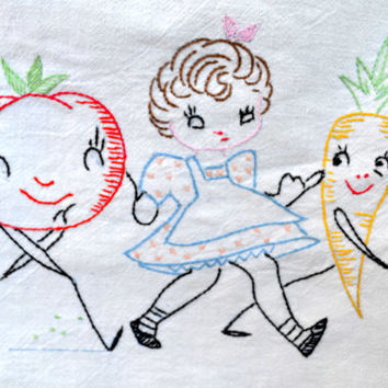 Vintage Embroidered Tea Towel, Linen Kitchen Towel with Girl and Anthropomorphic Tomato and Carrot, circa 1950s