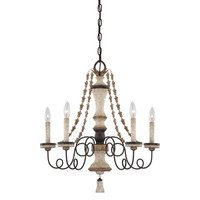 Minka-Lavery 1295-580 Accents Provence Patina Five-Light Chandelier with White Patina Glass