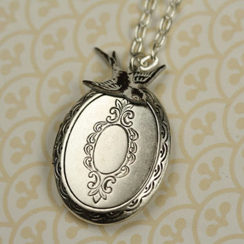 Silver Locket and White Bird Necklace, Vintage Floral Pendant, Long Fashion, Oval Shape, Winged, Antiqued, Cream Charm Jewelry