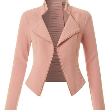 LE3NO Womens Textured Long Sleeve Open Front Cropped Blazer Jacket with Cutout Back