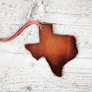 Texas Luggage Tag - Leather Bag Identifier - Genuine Leather Luggage Tag - Wanderlust - Travel Gift - Graduation Gift - Bag Charm - Roadtrip