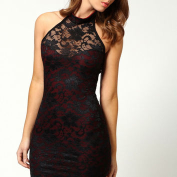 Black Backless Halter Neck Lace Dress