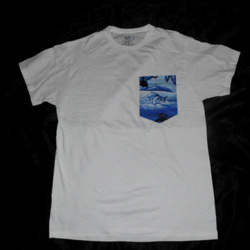Blue Dolphin Floral Pocket Tee