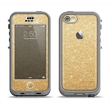 The Gold Glitter Ultra Metallic Apple iPhone 5c LifeProof Nuud Case Skin Set