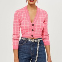 Check Cropped Cardigan